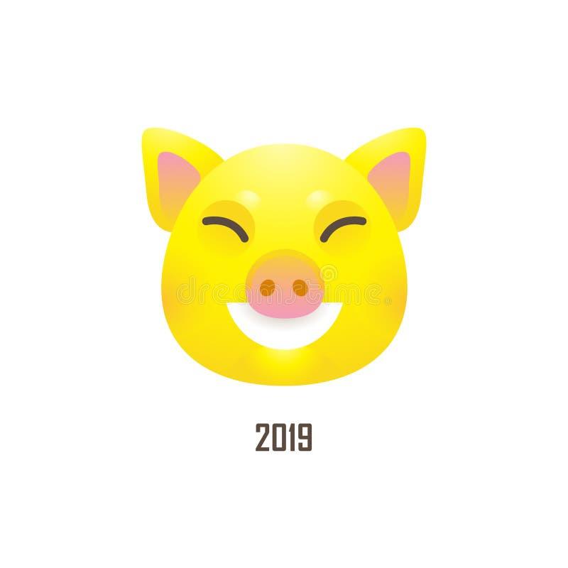 Illustratie van kawaiivarken, symbool van 2019 op Chinese calend royalty-vrije illustratie