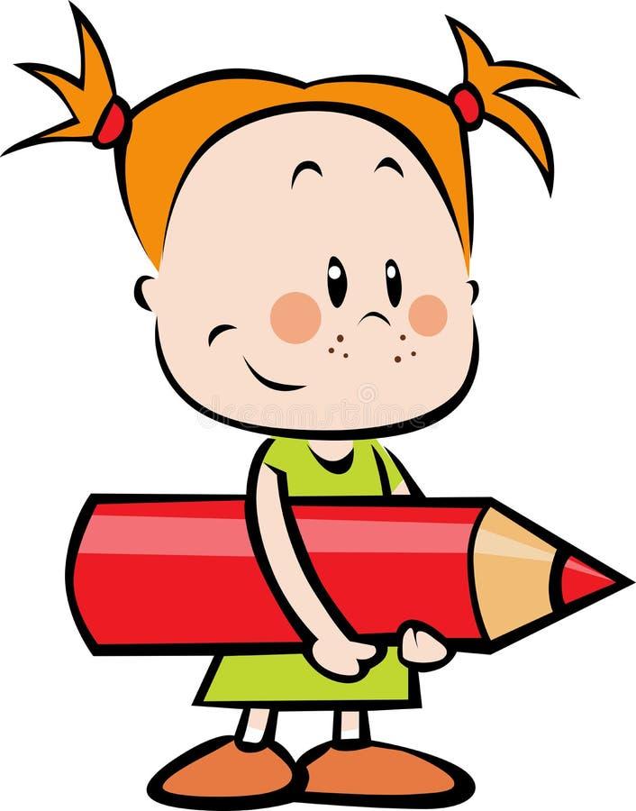 Illustratie van kind met potlood - meisje ho royalty-vrije illustratie