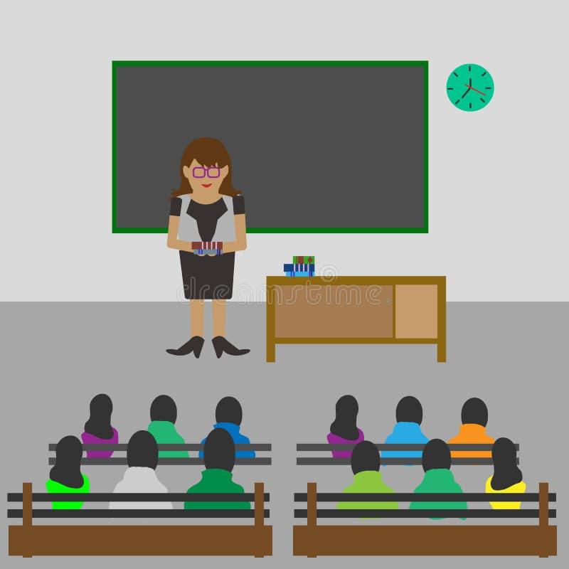 Illustratie van Klaslokaal met de studenten van het Lezingsonderwijs, Concept klaslokaal vector illustratie