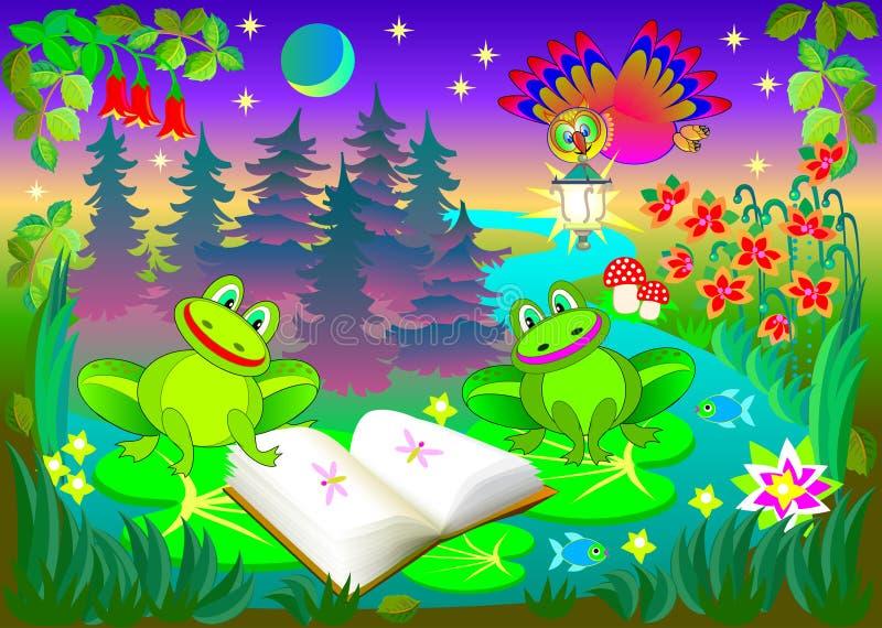 Illustratie van kleine grappige kikkers die het boek lezen bij nacht stock illustratie