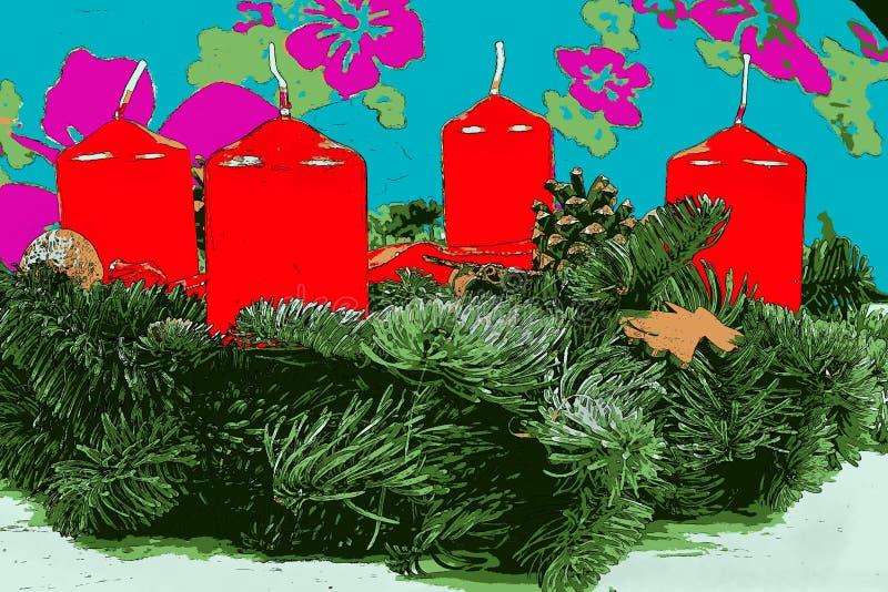 Illustratie van komstkroon met rode kaarsen stock fotografie
