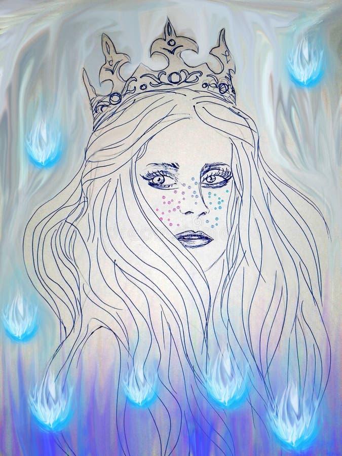 Illustratie van koningin die door charmes wordt omringd stock illustratie