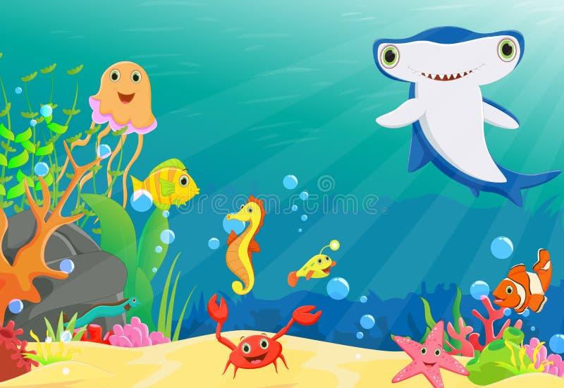 Illustratie van koraalrif met grappige vissen en hammerhead een haai royalty-vrije illustratie
