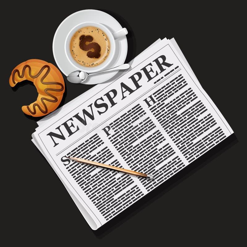 Illustratie van krant met cappuccinokop en croissant royalty-vrije illustratie
