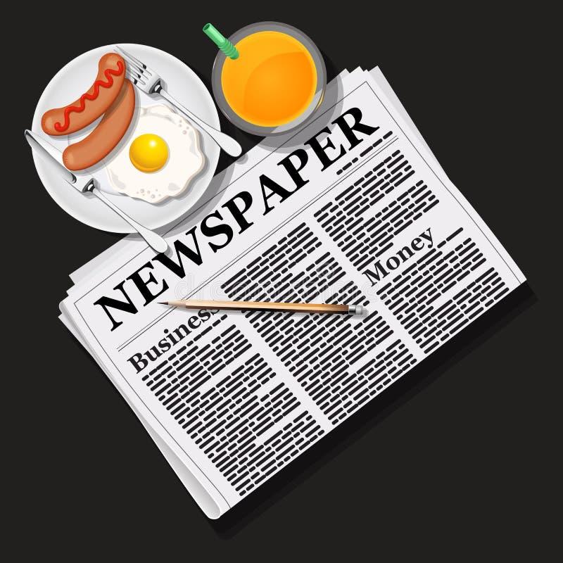 Illustratie van krant met jus d'orange en ontbijt royalty-vrije illustratie