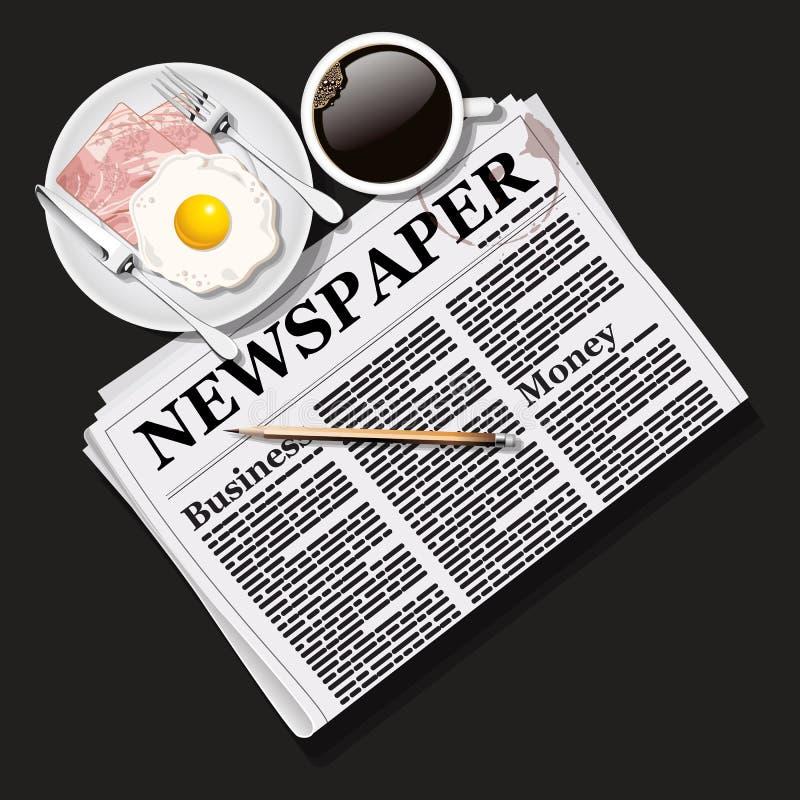 Illustratie van krant met zwart koffie en ontbijt stock illustratie