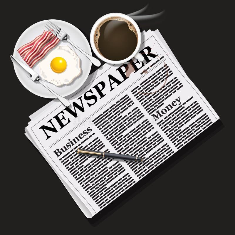 Illustratie van krant met zwart koffie en ontbijt royalty-vrije illustratie