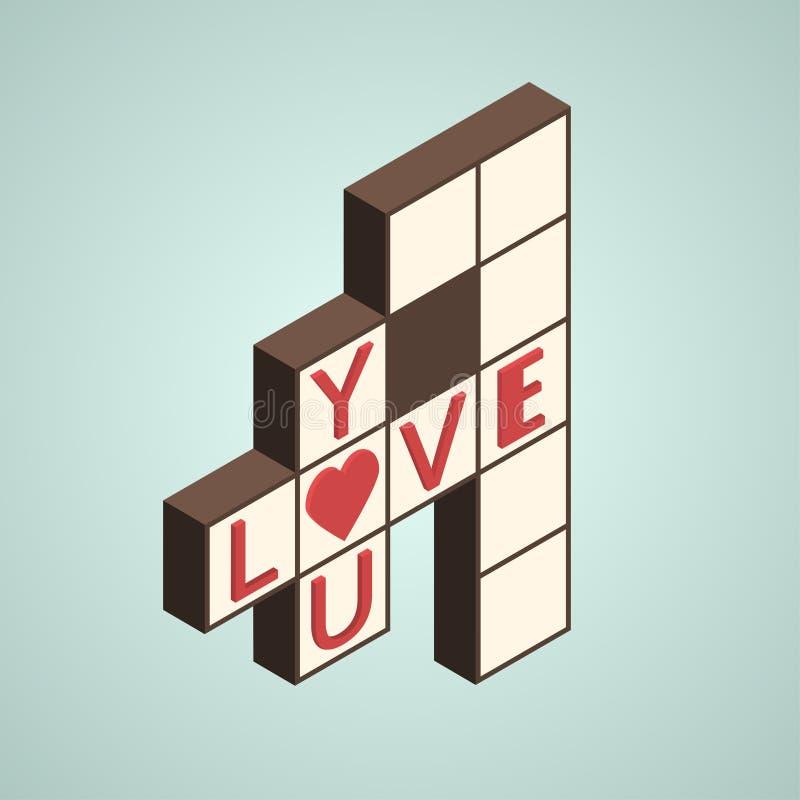 Illustratie van kruiswoordraadsel met tekst - houd van u op het, isometrische stijl vector illustratie