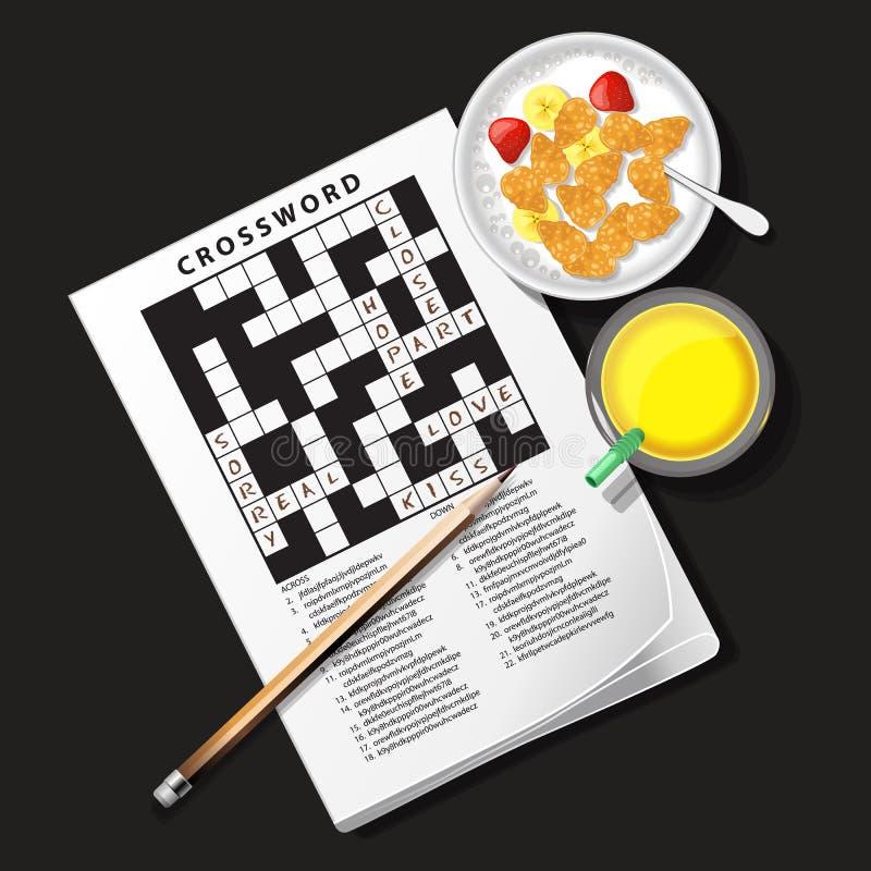 Illustratie van kruiswoordraadselspel met graangewassenkom en ananas ju vector illustratie
