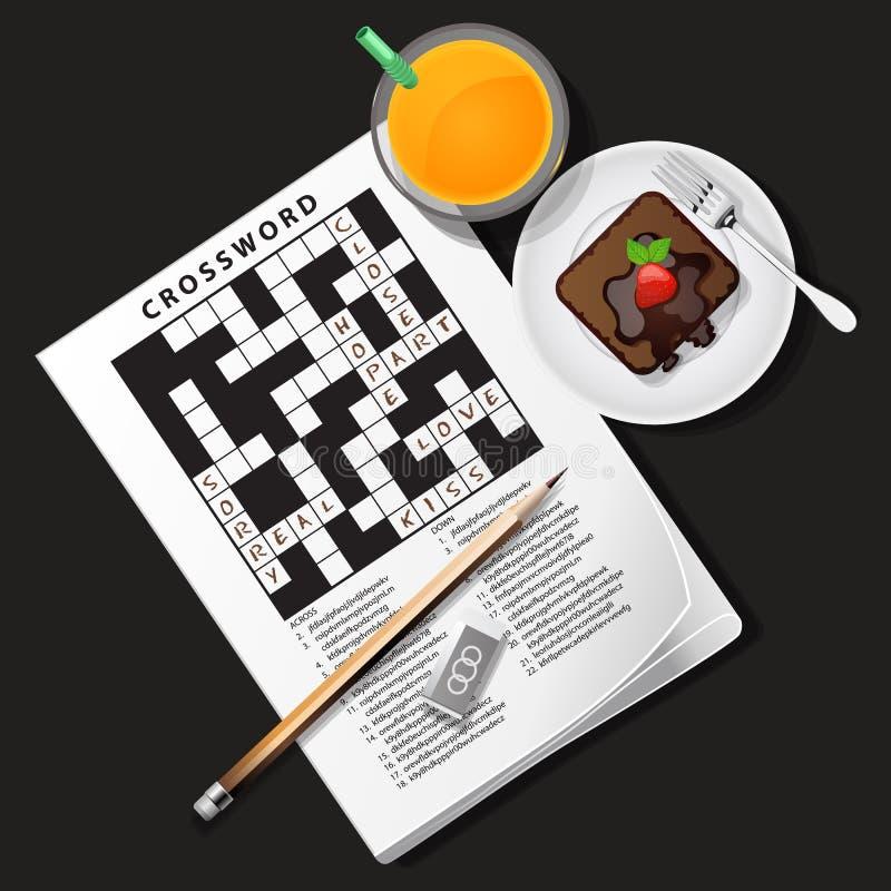 Illustratie van kruiswoordraadselspel met jus d'orange en chocolade c stock illustratie