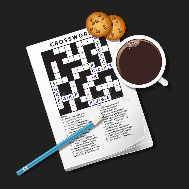 Illustratie van kruiswoordraadselspel, mok koffie en koekje stock illustratie