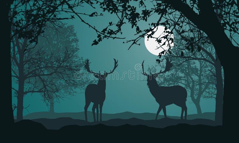 Illustratie van landschap met bos, bomen en heuvels, onder nacht groene hemel met volle maan en ruimte voor tekst Twee herten sta vector illustratie