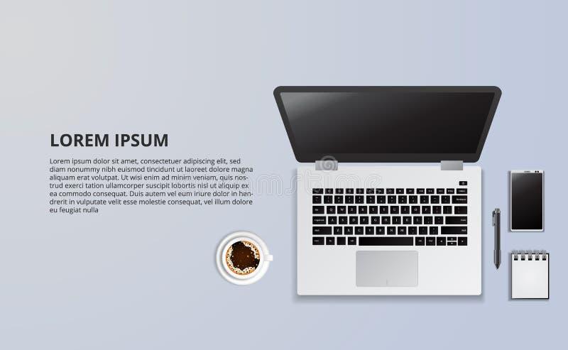 Illustratie van laptop en koffie van hoogste mening royalty-vrije illustratie