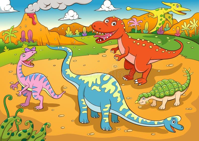 Illustratie van leuk dinosaurussenbeeldverhaal vector illustratie