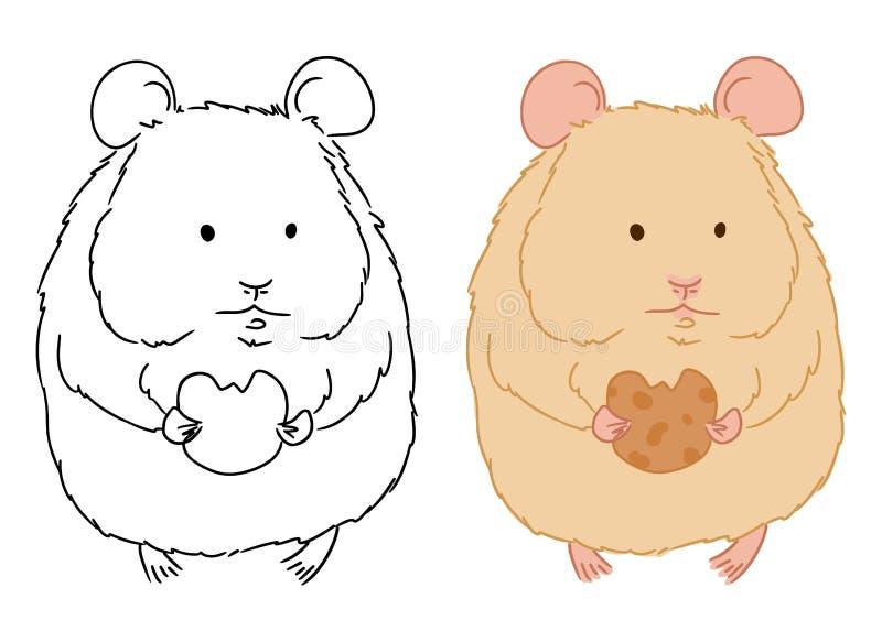 Illustratie van leuk weinig hamster met koekje op witte achtergrond Vectorhand getrokken beeld van de status van hamster voor het stock illustratie