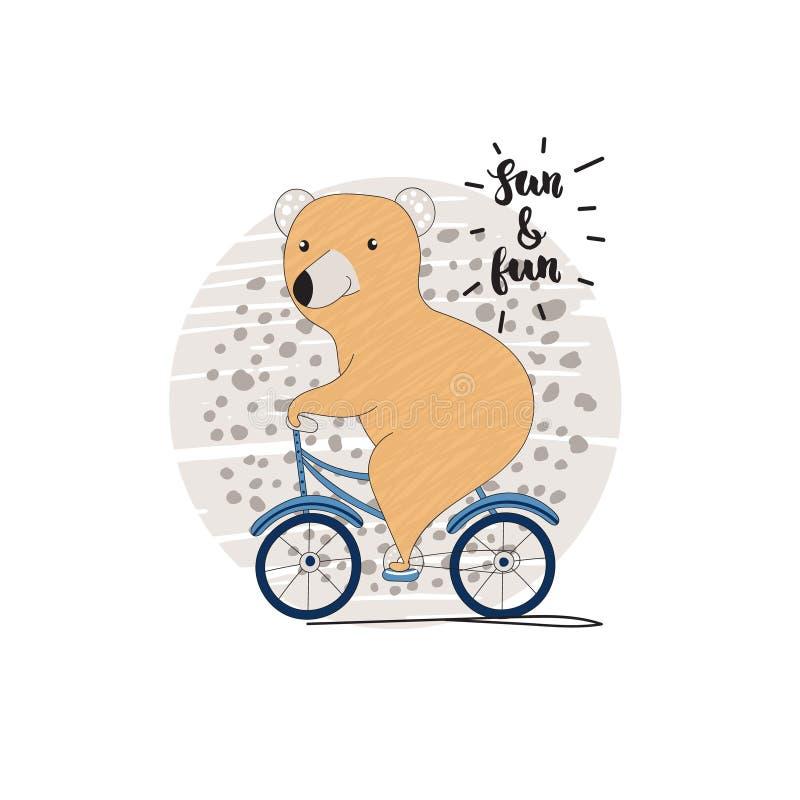 Illustratie van leuke beer met fiets stock illustratie