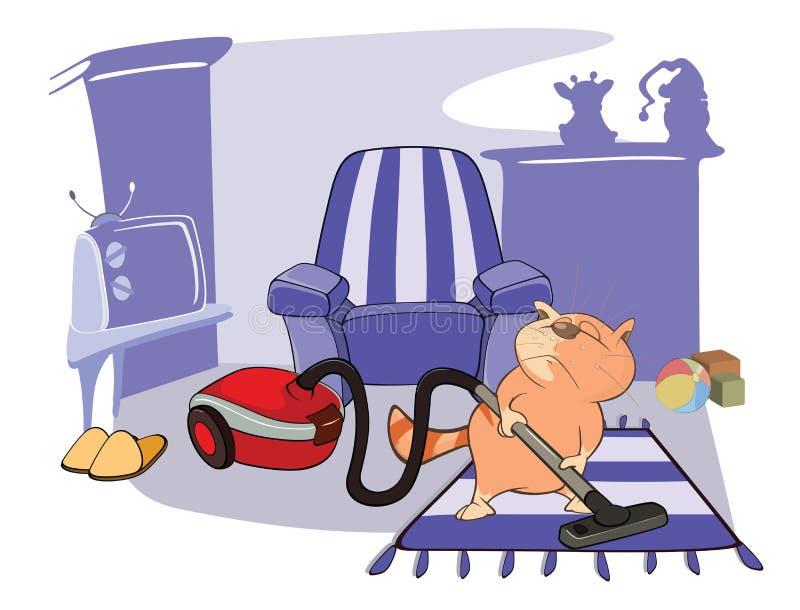 Illustratie van Leuke Cat Housecleaning royalty-vrije illustratie