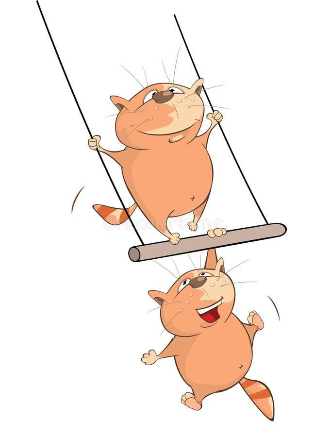 Illustratie van Leuke Kattenacrobaat Het karakter van het beeldverhaal stock illustratie