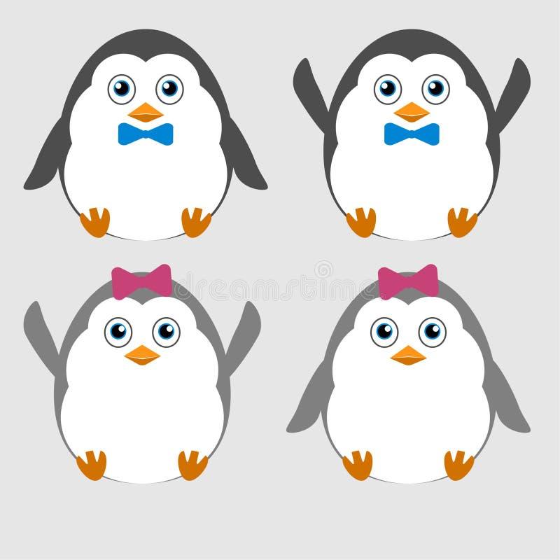 Illustratie van leuke kleine grappige pinguïnen vector illustratie