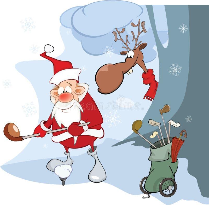 Illustratie van Leuke Santa Claus Golfer vector illustratie