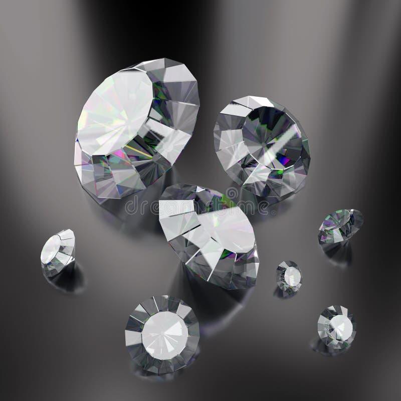 Illustratie van luxediamanten op gradiëntachtergronden Glanzende kristallen 3d geef terug royalty-vrije illustratie
