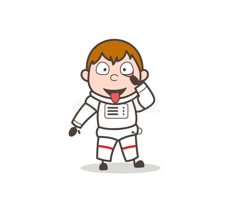 Illustratie van Making Face Vector van de beeldverhaal de Grappige Astronaut stock illustratie