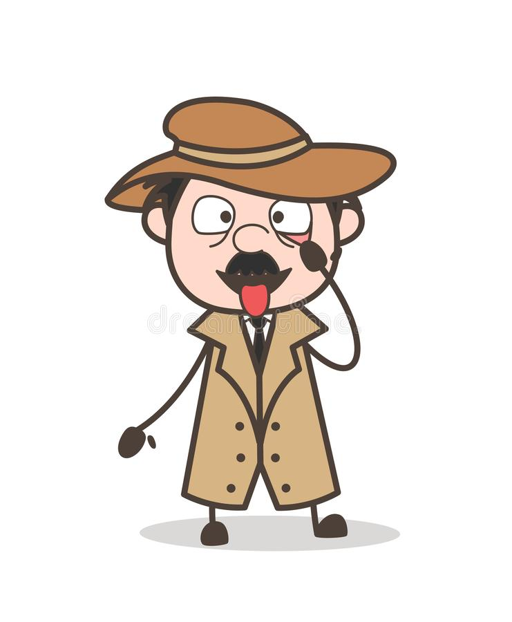 Illustratie van Making Face Vector van de beeldverhaal de Grappige Detective vector illustratie