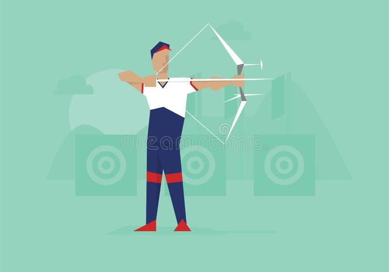 Illustratie van Mannelijk Archer Competing In Event vector illustratie
