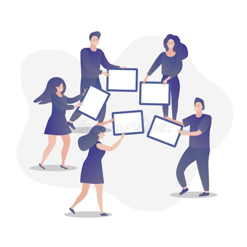 Illustratie van mannen en vrouwen die raadskaarten houden Symbool van groepswerk, cooperatio en vennootschap, bedrijfsmetafoor stock illustratie