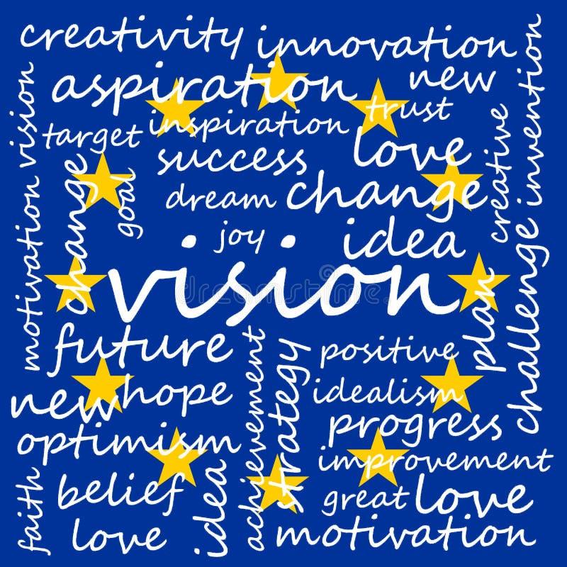 Illustratie van Markeringswolk met Woorden Met betrekking tot Visie, Creativiteit en Optimisme, de EU-Vlagachtergrond vector illustratie