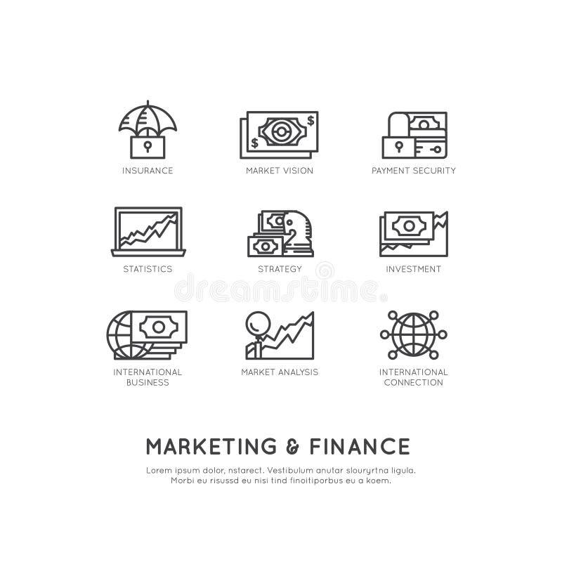 Illustratie van Marketing en Financiën, Bedrijfsvisie, Investering, Beheersproces, Financiënbaan, Inkomen, Opbrengstbron stock illustratie