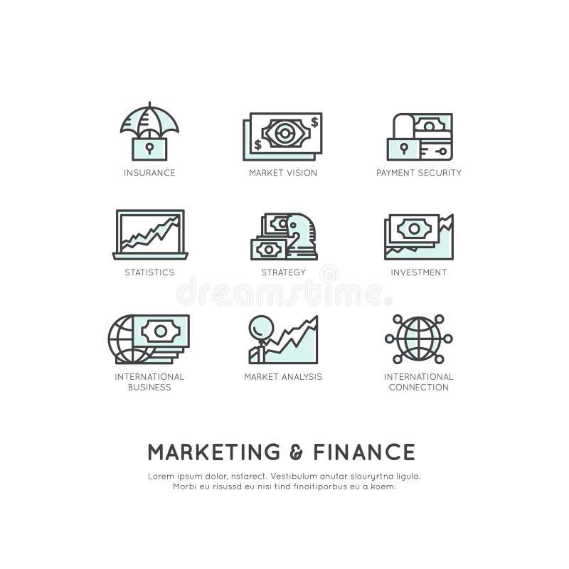 Illustratie van Marketing en Financiën, Bedrijfsvisie, Investering, Beheersproces, Financiënbaan, Inkomen, Opbrengstbron vector illustratie