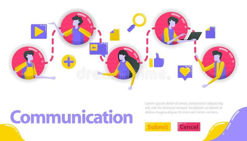 Illustratie van mededeling de mensen worden verbonden met elkaar in mededeling en communautaire lijn de sociale media verbinden royalty-vrije illustratie