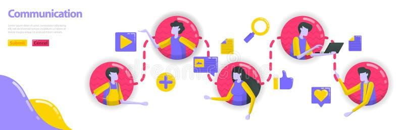 Illustratie van mededeling de mensen worden verbonden met elkaar in mededeling en communautaire lijn de sociale media verbinden vector illustratie