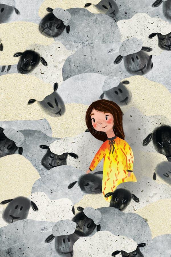 Illustratie van meisje en schapen stock illustratie