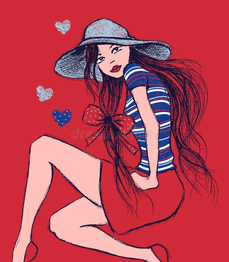 Illustratie van meisje in hoedenzitting, de druk van het T-stukoverhemd stock illustratie