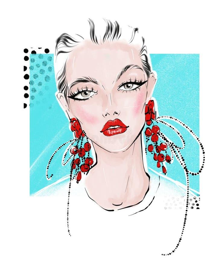 Illustratie van meisje met grote rode oorringen stock illustratie