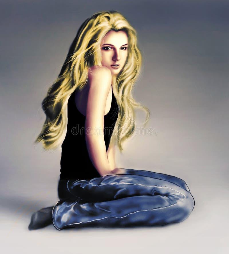 Illustratie van meisjeszitting op de vloer in jeans royalty-vrije stock afbeelding