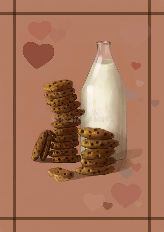 Illustratie van melk en koekjes - de beste zoete, smakelijke ontbijtcombinatie stock illustratie