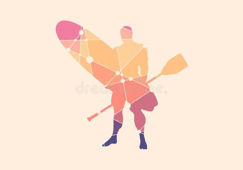 Illustratie van mens het stellen met surfplank vector illustratie