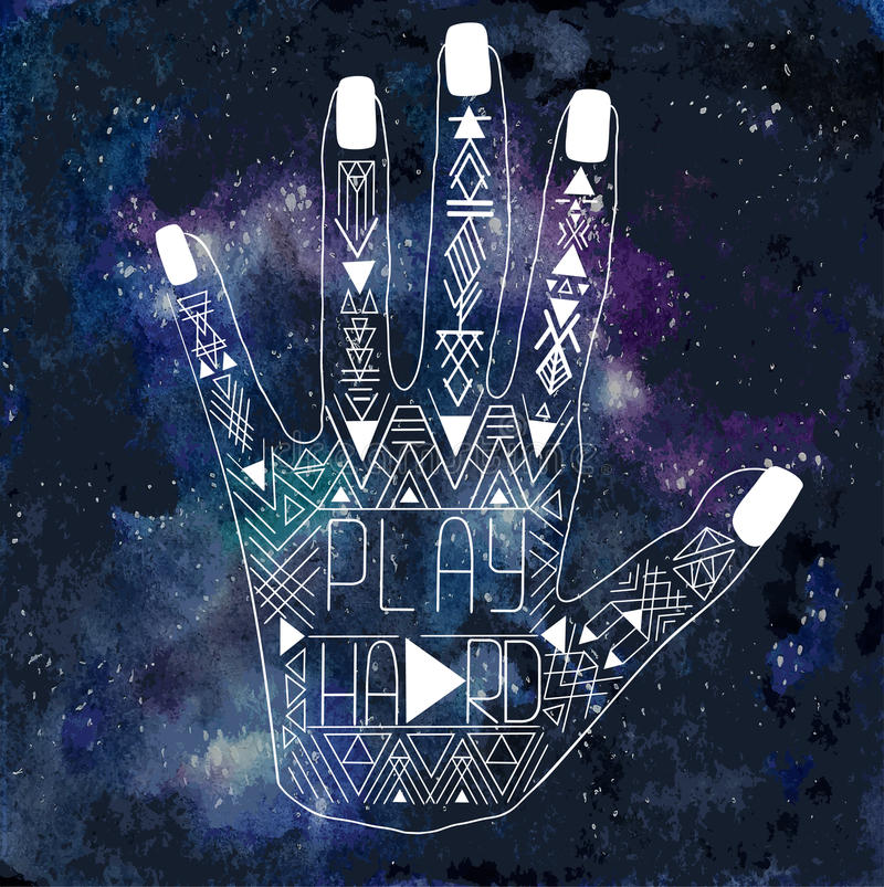 Illustratie van menselijke hand met Azteeks patroon stock illustratie