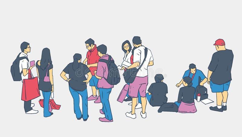 Illustratie van mensen die bevindende zitting in lijn wachten vector illustratie