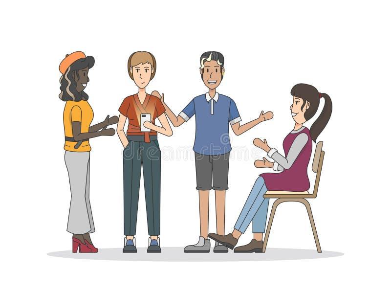 Illustratie van mensen die een bespreking hebben die communautair concept delen stock illustratie