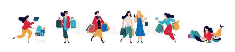 Illustratie van mensen met aankopen Vector Mannen en vrouwen die goederen kochten Kortingen en verkoop in kleinhandelsnetwerken v royalty-vrije illustratie