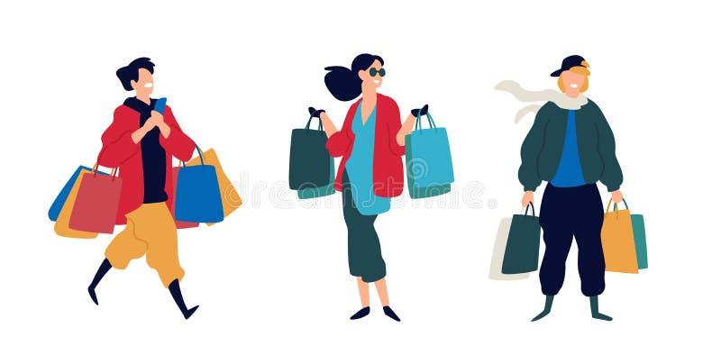 Illustratie van mensen met aankopen Vector Mannen en vrouwen die goederen kochten Kortingen en verkoop in kleinhandelsnetwerken v vector illustratie