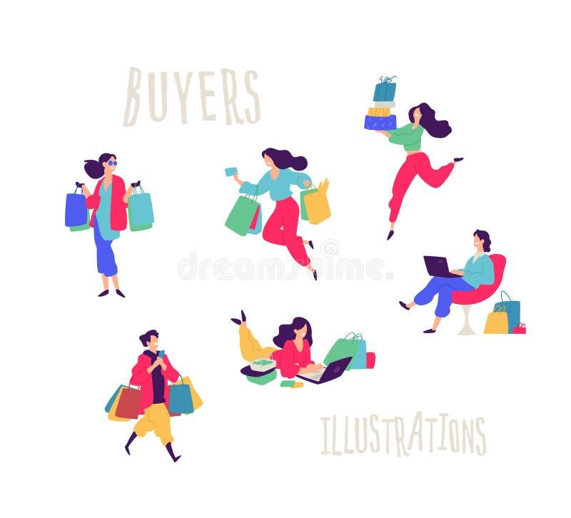 Illustratie van mensen met aankopen Vector Mannen en vrouwen gekochte dingen Kortingen en verkoop in kleinhandelsnetwerken Vlak b vector illustratie