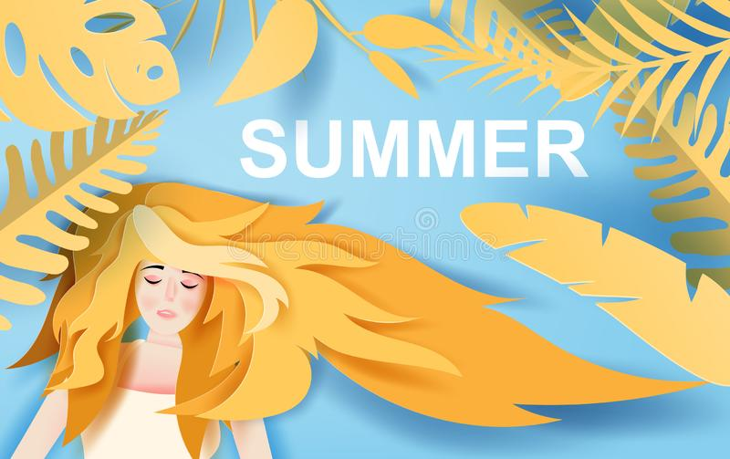 Illustratie van Mooi damemeisje met lange de zomerreis van de haarslijtage met tropische de aarddecoratie van het bladleven Portr royalty-vrije illustratie
