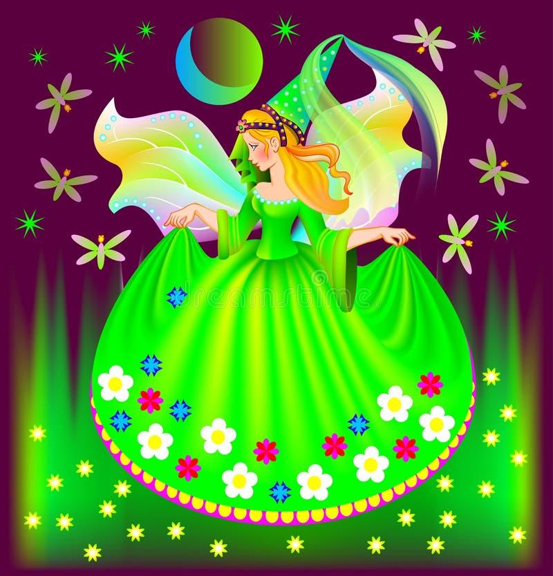 Illustratie van mooie fee die in de nacht dromen stock illustratie