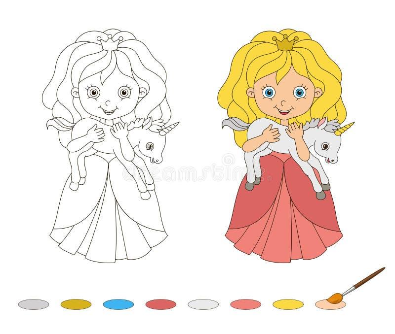 Illustratie van mooie prinses met baby stock illustratie
