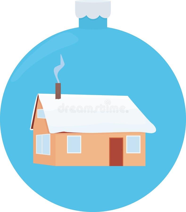 Illustratie van naar huis behandelde deken van sneeuw Een huis of een cabine dat met sneeuw op Kerstmisbal zijn behandeld stock illustratie